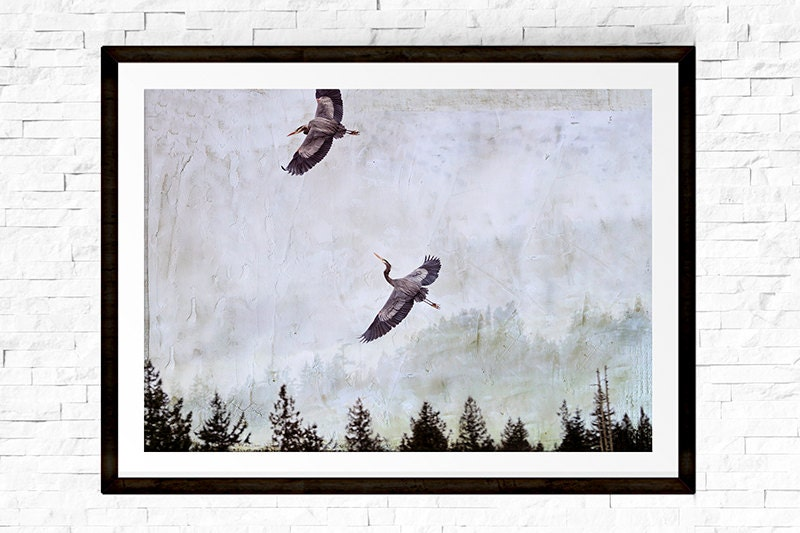heron photograph neutral wall art zen decor heron painting nature photography pacific northwest bird art flying birds nature prints