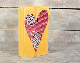 Dr. Pepper Red Heart on Yellow Soda Can Art