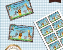 Printable Diaper Raffle Card, Jungle Animal Safari Baby Shower, Baby Boy, Safari Diaper Raffle Card, Baby Shower Game - Instant Download
