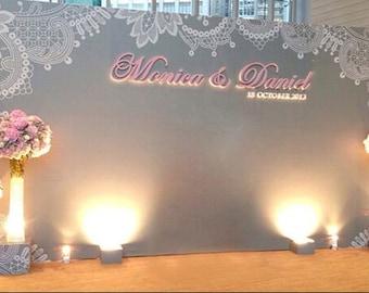 Customize Wedding Backdrop,Wedding Stage Photography Backdrop,Wedding Invitation photobooth background, photo prop  H1