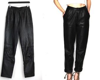 Vintage 80s Black Leather Pants High Waisted / 80s black vintage trousers / Black leather pant / women's pant / biker motorcylce