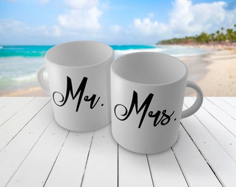 MR. and MRS. set of MUGS - great for newlyweds engagement gifts