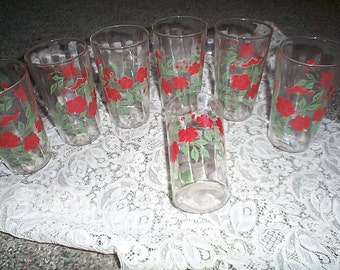 Vintage 1930s drinking glasses red flowers  set of 6 + 1