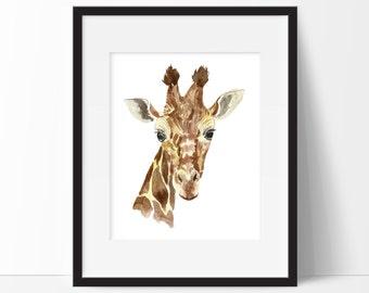 Giraffe Nursery Print - Giraffe Print - Giraffe Decor - Watercolor Giraffe - Safari Print - Giraffe Art - Instant Download Printable 8x10