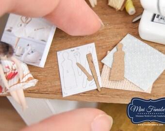 Sewing Pattern Tilda SET (pattern, fabric)- miniature handmade Dollhouse 1:12, sewing room, craft, decoration