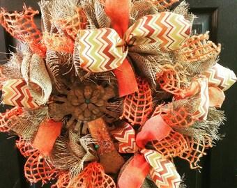 Fall Shabby Burlap Wreath