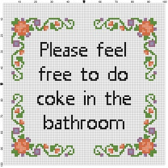 Please feel free to do coke in the bathroom cross stitch for Bathroom cross stitch patterns free