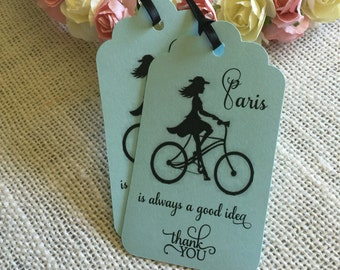 Paris tags, Paris party tags, Paris sweet 16, Paris bachelorette tags, set of 12