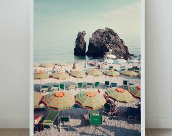 Italy, Photographic Print. Cinque Terre, Italy. View of the beach.