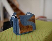 Denim bag «Copenhagen», recycled denim handbag, casual bag, shoulder bag, bicycle front bag, denim bike fronttube bag, bicycle handlebar bag