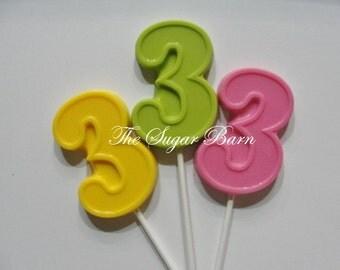 3rd BIRTHDAY CHOCOLATE Lollipops*12 Count*Birthday #3*Birthday Party Favors*#3 Favors*3 Year Old Party*Birthday Pop*Birthday Centerpiece