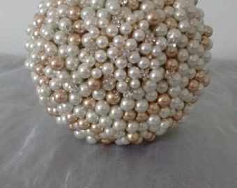 Ivory and Gold Pearl and Brooch Bouquet. Bridal Bouquet.