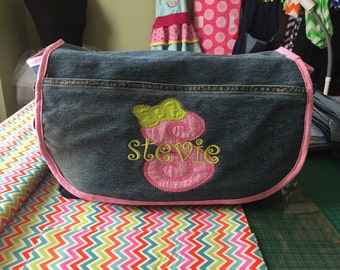 Personalized upcycled blue jean diaper bag