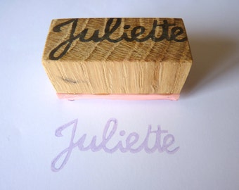 Customizable name-stamp, cursive letter, attached letter, signature, seal, name, custom stamp, upcycled wood