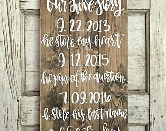 Our Love Story Sign | Rustic Wedding Decor | Hand Painted Wedding Sign | Custom Wedding Decor | He Stole My Heart Sign
