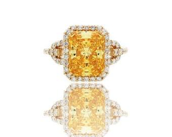 14k yellow 3ct lab made diamond with natural white diamond engagement ring