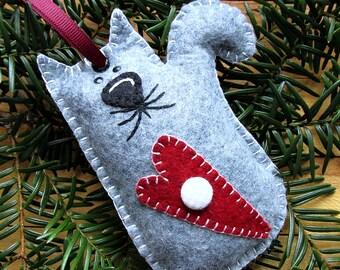 Wool Felt Kitty Cat Ornament Hanger In Gray
