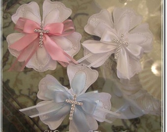 Confetti Flowers Almond  Flowers Baptism Christening with cross Favors  Bomboniere