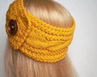 Yellow Ear Warmer,Knitting Winter Headband ,Knit and Crochet Headband, Ear Warmer,Brown Headband,Crochet Headband,Knit Turban Headband