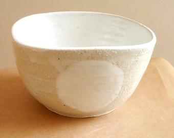 White Dot  Stoneware  bowl