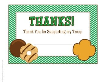 Cookie Fundraiser Green Chevron Thank You Notecards: Downloadable