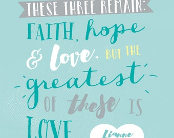 Customised Wedding Print - Faith, Hope & Love