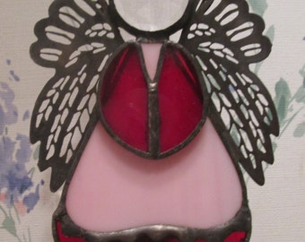 Angel Night Light in Stained Glass - Pink