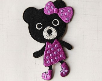 5.2 x 8cm, Cute Teddy Bear with Purple Dress (P-332)