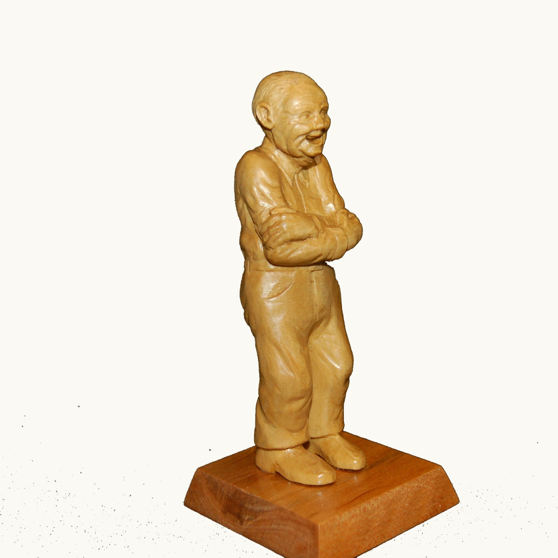 Wood carved figure old man wooden