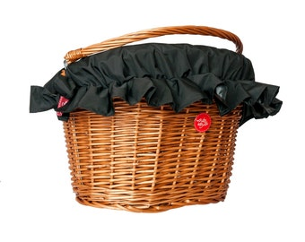 Water-Repellent Basket Cover, Bike Belle Plain Black