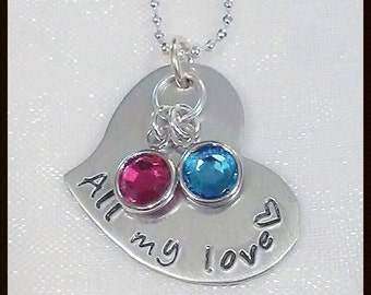 """Sterling Silver ~ Hand Stamped Personalized Name Necklace with Swarovski Birthstones ~ 1"""" Heart Charm"""