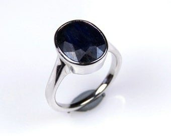 5.01 GMS 100% Handmade 92.5 Sterling Silver Designer Ring studded with Natural Blue Sapphire