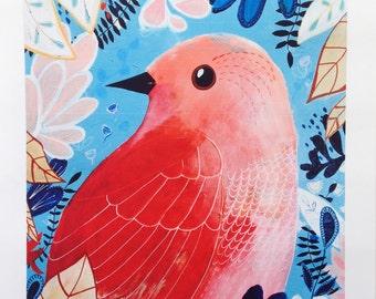 Peachy bird | mixed media | art print