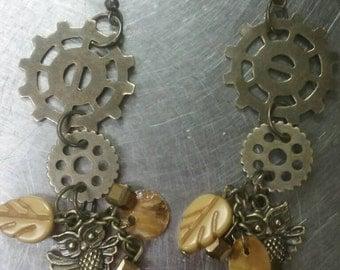 Steam punk gear and owl earrings