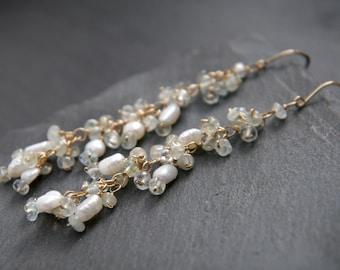 Pearl Earrings, Aquamarine Earrings, 14K Gold Filled, Long Dangle Earrings, Blossoming Vine, Cluster Earrings, Gemstone Earrings, Wedding
