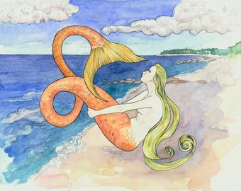 "Mermaid at Loop Beach, 8x10 "" Giclee Print"