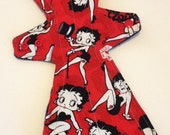 "13.5"" Heavy Overnight-Postpartum / Flared / Mama Cloth / Cloth Pad / Betty Boop with hidden PUL layer."