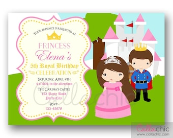 Princess Birthday Invitation PRINTABLE - Girl Birthday Party Invite (Tiara Castle Crown with Prince in Bright Colors)