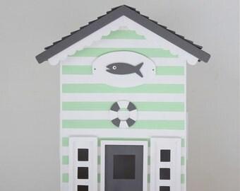 Casita Night Light - Beach Hut - Fish & Green. Handmade.