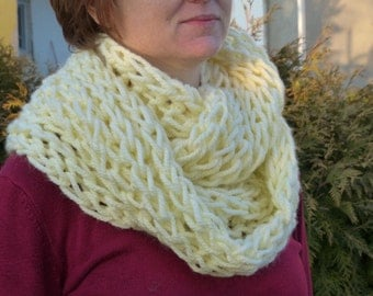 Super soft infinity scarf in pale yellow