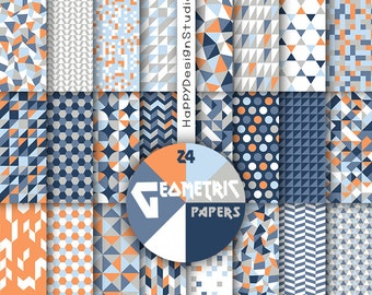 Blue & orange digital paper baby boy nautical colors navy blue gray orange tones geometric pattern geometrical graphic triangles mosaic