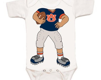 Auburn Tiger Heads Up! Football Player Baby Bodysuit