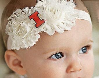 Illinois Fighting Illini Baby/ Toddler Shabby Flower Hair Bow Headband