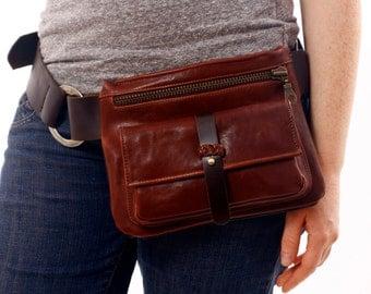 Adjustable Brown Leather Hip Bag, bum bag, fanny pack, travel pouch, belt pocket