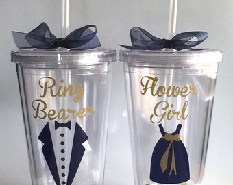 Will you be my Flower Girl? Will you be my Ring Bearer?  Flower Girl Personalized Tumbler, Ring Bearer Personalized Tumbler, Navy & Gold