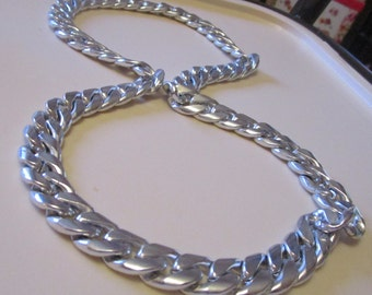 "vintage heavy chain necklace new silvertone endless 24""long something different"