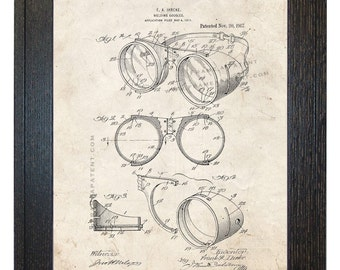 Framed Patent Art - Welding Goggles WITH Real Rustic Wood Frame - Framed Patent Print