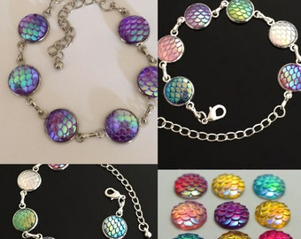 Mermaid Dragon Iridescent Scales Bracelet OR Earrings