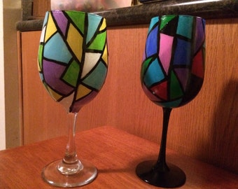 Stained glass hand painted wine glass
