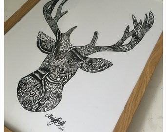 Ltd Edition Stag Head Ink Drawing - A3 Print